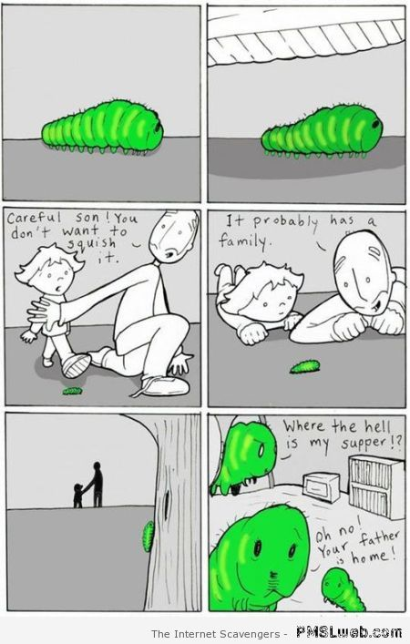 Funny caterpillar cartoon at PMSLweb.com