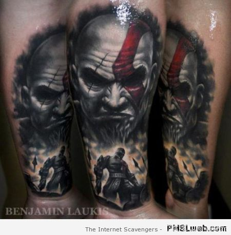 Beautiful God of war tattoo at PMSLweb.com