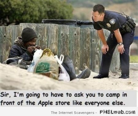 Camp in front of the Apple store humor at PMSLweb.com