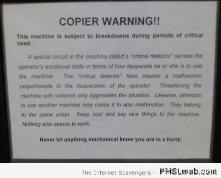 Funny copier warning at PMSLweb.com