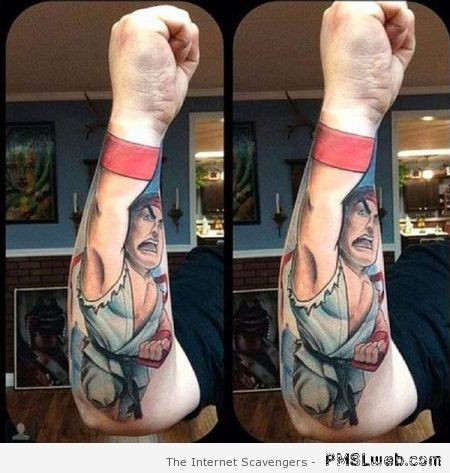 Funny street fighter tattoo at PMSLweb.com