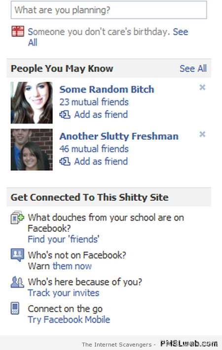Funny fake Facebook friend suggestions at PMSLweb.com