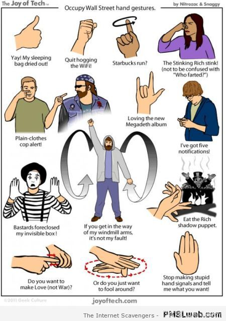 Occupy wall street hand gestures at PMSLweb.com
