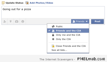 Sharing on facebook with the CIA at PMSLweb.com