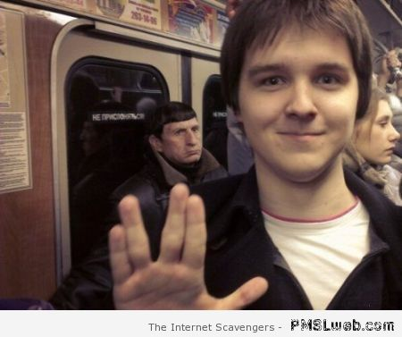 Spock subway salute  - LOL images at PMSLweb.com