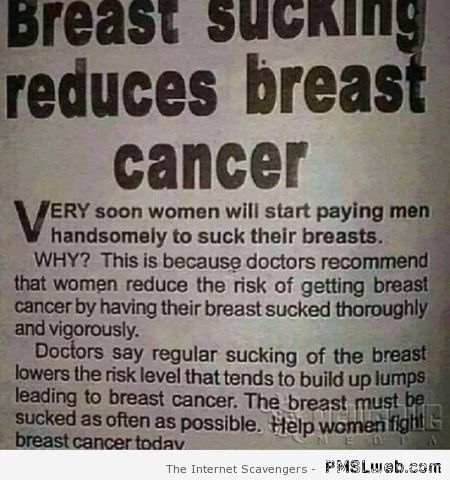 Breast sucking reduces breast cancer at PMSLweb.com