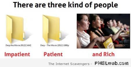 There are three kinds of people humor at PMSLweb.com