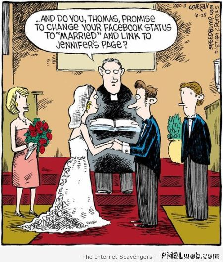 Married Facebook status funny cartoon at PMSLweb.com