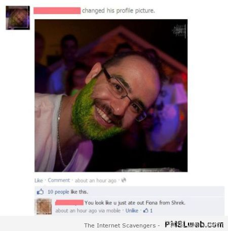 Funny green beard facebook comment at pMSLweb.com
