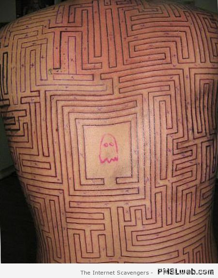 Packman back maze tattoo – Best and worst tattoos at PMSLweb.com
