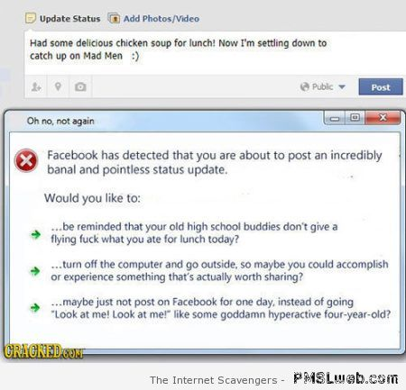 Funny Facebook notification at PMSLweb.com