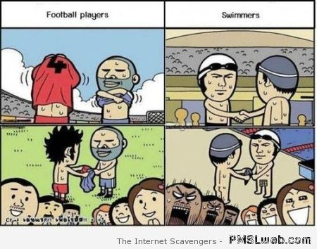 Football players versus swimmers at PMSLweb.com