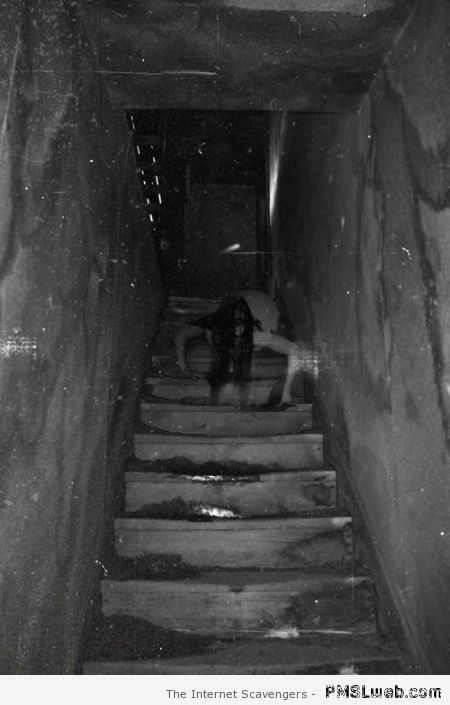 Scary woman in stairs at PMSLweb.com