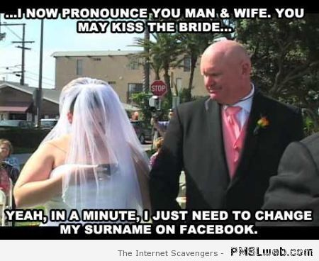 Funny bride changes her name on Facebook at PMSLweb.com