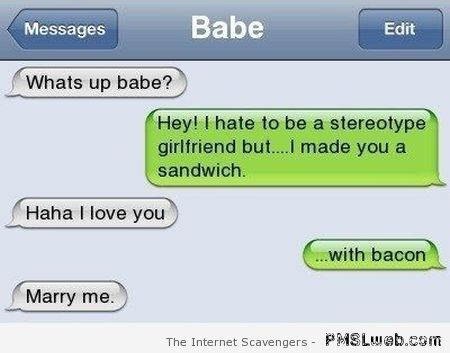 I made you a sandwich funny text message at PMSLweb.com