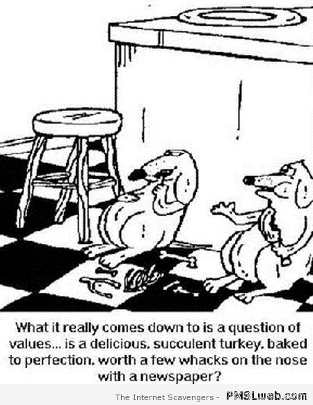 Dogs at Thanksgiving humor at PMSLweb.com