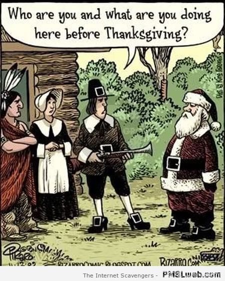 Funny Thanksgiving and Christmas cartoon at PMSLweb.com