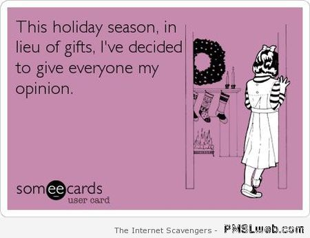 Holiday season sarcasm at PMSLweb.com