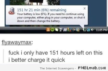 Remaining battery time humor at PMSLweb.com