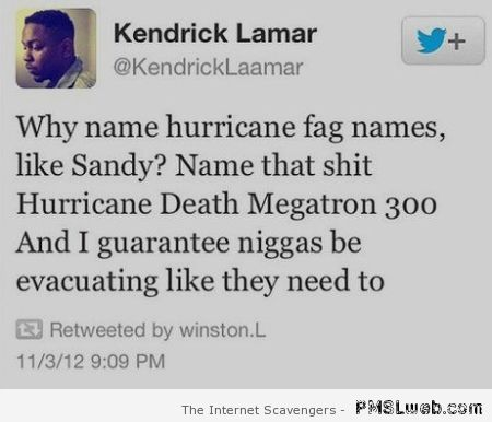 Funny hurricane tweet at PMSLweb.com