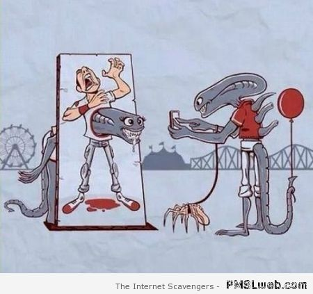 Funny Alien cartoon at PMSLweb.com