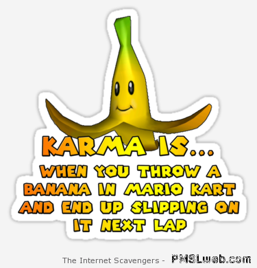 Karma is when you throw a banana in Mario Kart at PMSLweb.com