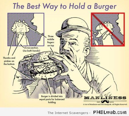 best way to hold a burger humor at PMSLweb.com