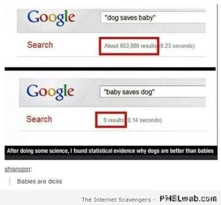 Dogs and babies funny Google search at PMSLweb.com