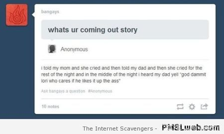 Funny coming out story at PMSLweb.com