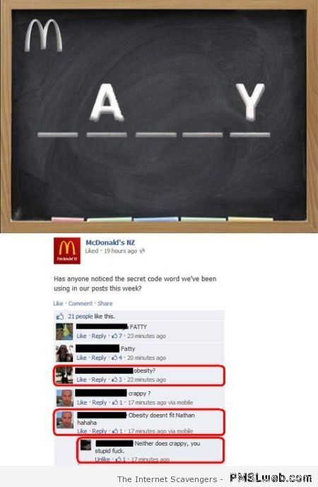 Funny McDonald quiz answers at PMSLweb.com