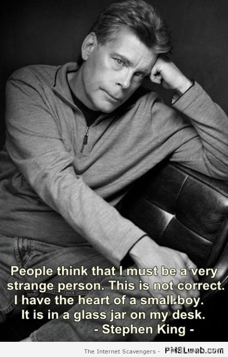 Funny Stephen King quote at PMSLweb.com