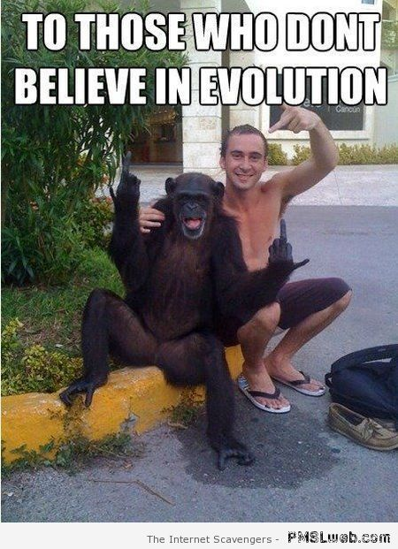 To those who don't believe in evolution meme at PMSLweb.com