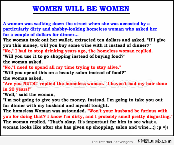 Women will be women joke at PMSLweb.com