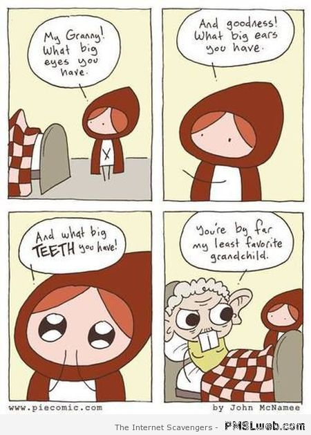 Funny little red riding hood cartoon at PMSLweb.com