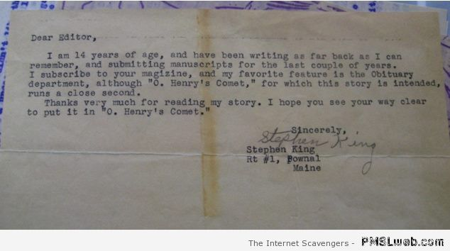 Young Stephen King letter at PMSLweb.com