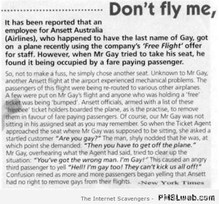 Gay on a plane funny story at PMSLweb.com