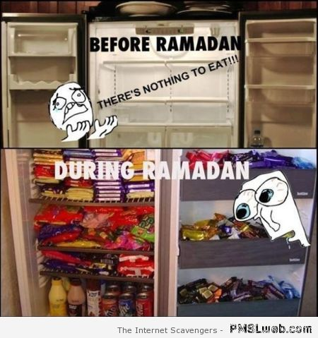 Before Ramadan versus during Ramadan meme at PMSLweb.com