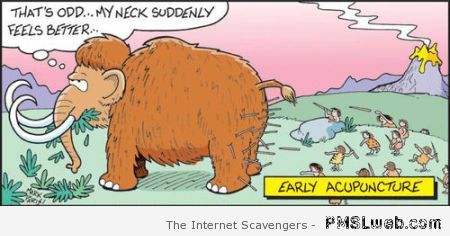Early acupuncture funny cartoon at PMSLweb.com