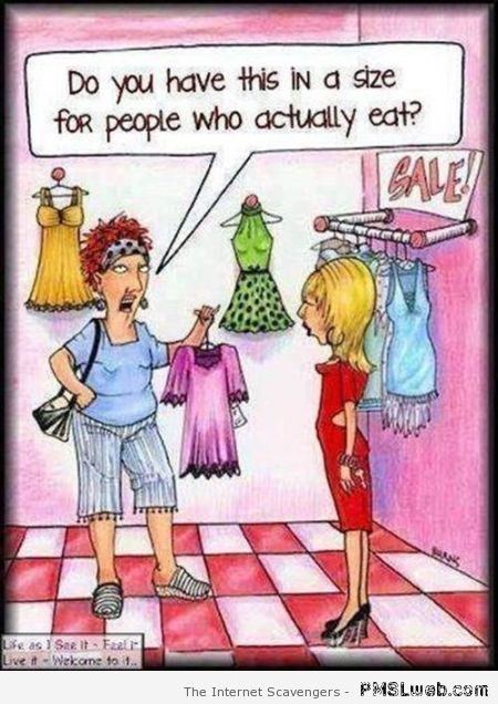 Funny clothes size cartoon – TGIF funny pictures at PMSLweb.com