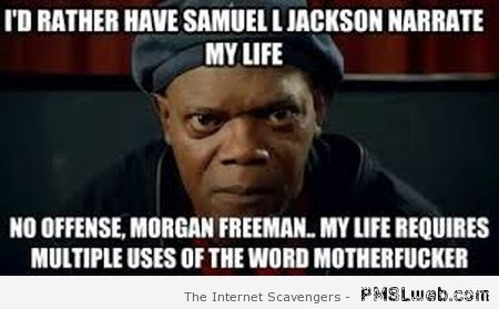 I'd rather have Samuel L Jackson narrate my life at PMSLweb.com