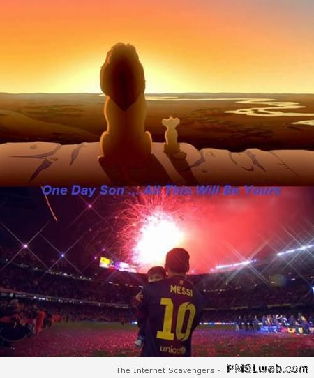 Messi and son Lion King meme at PMSLweb.com