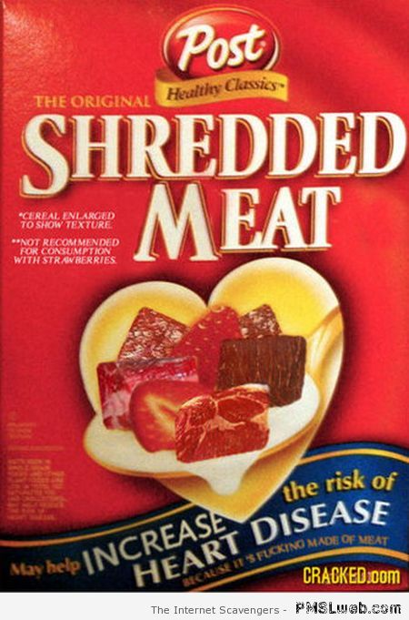 Shredded meat cereal at PMSLweb.com
