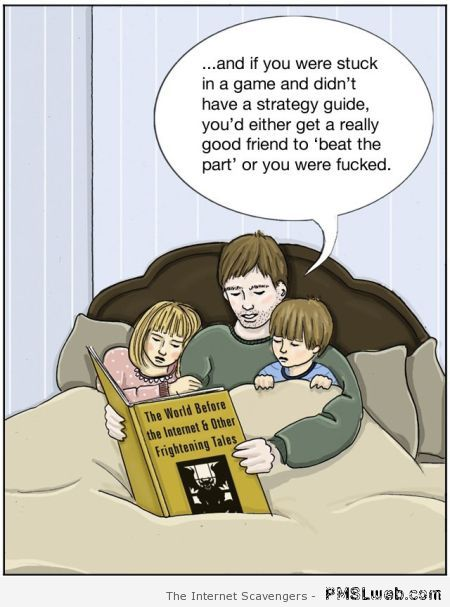 Video games before the Internet funny cartoon at PMSLweb.com