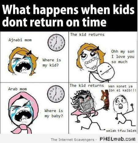 When Arab kids don't return on time rage comic at PMSLweb.com
