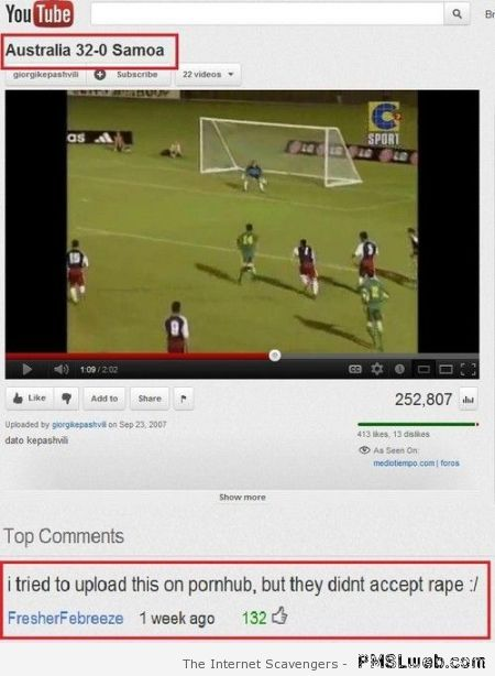 Funny football youtube comment at PMSLweb.com