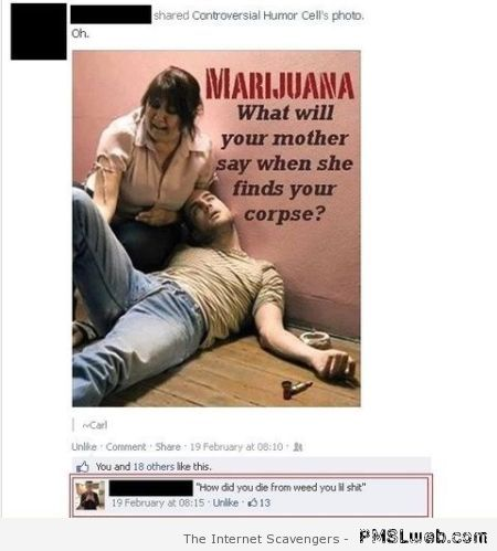 Funny Marijuana comment at PMSLweb.com