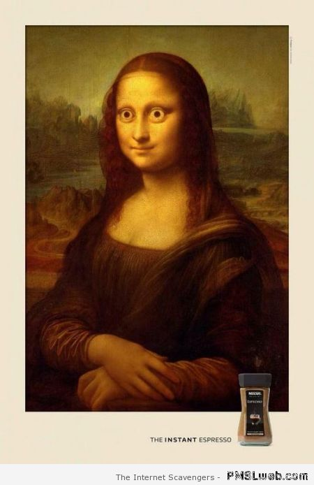 Mona Lisa espresso humor – Tuesday funnies  at PMSLweb.com