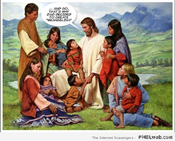 Jesus and Brangelina funny painting edit at PMSLweb.com