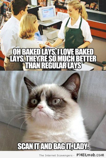 Cashier and grumpy cat meme at PMSLweb.com