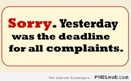 Yesterday was the deadline for complaints at PMSLweb.com